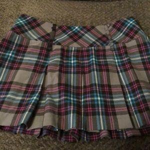 Dark plaid skirt
